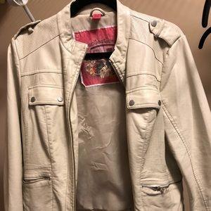Leather jacket, white, women's, brand new